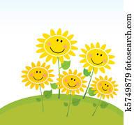 Happy Spring Sunflowers in Garden