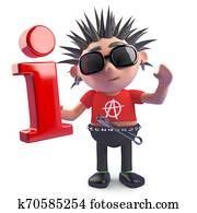 Rotten punk character holding an information symbol, 3d illustration