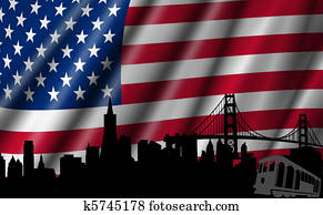 USA American Flag with Golden Gate Bridge Skyline Silhouette