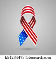 American flag ribbon. Patriotic symbol of 4 July