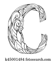 Clip Art Of Coloring Freehand Drawing Capital Letter H With Floral