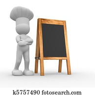 Chef and menu board
