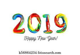 Colorful 3d text 2019. Congratulations on the new year 2019