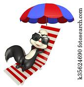 cute Skunk cartoon character with beach chair and sunglass