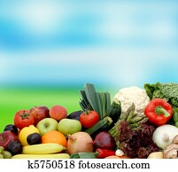 Fruit and vegetables on blurred background