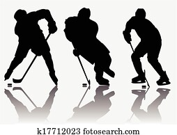 Ice hockey players silhouette