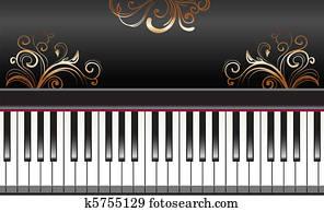 klavier, mit, wirbelt