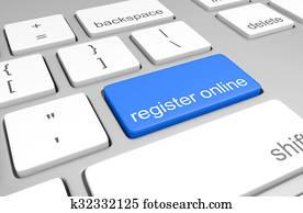 Register online key on a keyboard