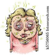 Sick Cartoon Woman