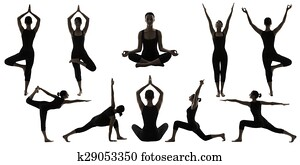 stock images of silhouette gymnast dancer set of