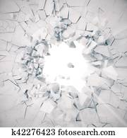 3d rendering explosion, cracked concrete wall, bullet hole