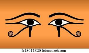 augenpaar, von, Horus., Wedjat., uralt, aegyptisch, symbol