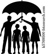 familie, eltern, halten, versicherung, sicherheit, risiko, schirmchen