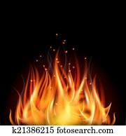 Fire on dark background.