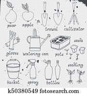 gartenarbeit, gartenbau, vektor, satz