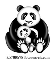 Mother and Baby Panda Bear