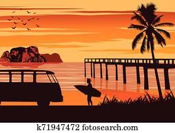 naturszene, von, meer, in, summer,, mann, halten, surfbrett, bei, sandstrand, und, h?lzern, port,, altmodisch, farbe design