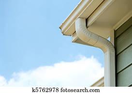 Rain gutters on a home