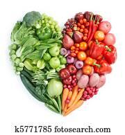 grün, und, rot, gesundes essen