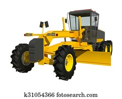 Grader. Construction machinery. Three-dimensional model of a construction machine. Raster illustration. Rendering object.