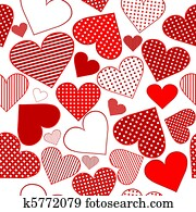 Seamless pattern background with red stylized hearts
