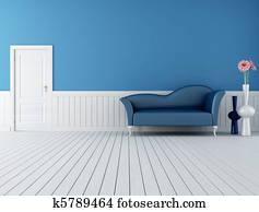 blue and white retro interior