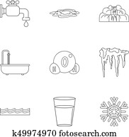 Pure water form icon set, outline style Clip Art | k49980319