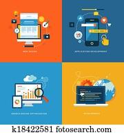 flache, heiligenbilder, für, webentwicklung