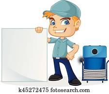 HVAC Technician holding blank sign