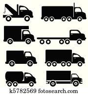 lastwagen, silhouetten