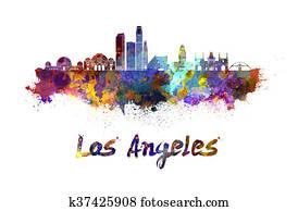 Los Angeles skyline in watercolor