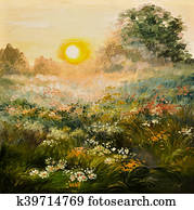 oil painting - sunrise in the field, art work