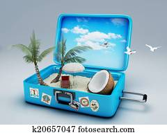 Travel suitcase. beach vacation