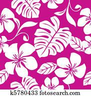tropische, rosa, bikini, muster