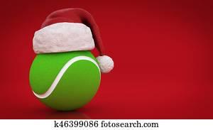 Christmas concept. tennis ball. 3d rendering