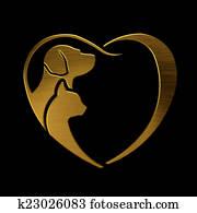 Dog Cat love heart gold logo