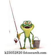 Frog go fishing