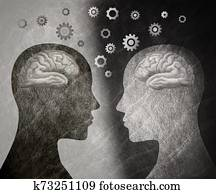 Group therapy. 2 human heads in silhouette profile with brain and gears. Neuroscience or neurology seminar. Neurological assistance and therapy. Improve intelligence and memory. Trainer