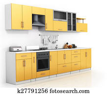 Modern kitchen on the thite background.