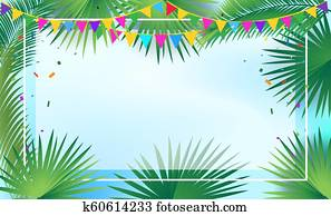 Palm Tree leaves tropical frame Sukkot decoration