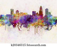 Charlotte skyline in watercolor background