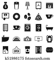 Holiday house icons set, simple style