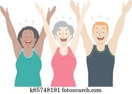 Seniors Laughter Yoga Illustration