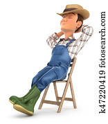 3d farmer sleeping on chair