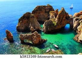 Cliffs at Algarve coast in Portugal