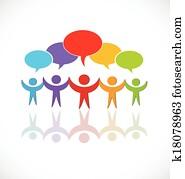 gemeinschaftsarbeit, vortrag halten, gesellschaft, logo