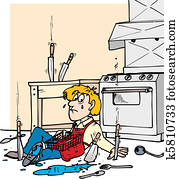 Reiniger, mann, putzen, werkzeuge Clip Art | k24488847 | Fotosearch