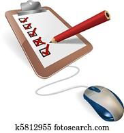 Online survey or questionnaire concept