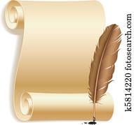 papier, und, feather.