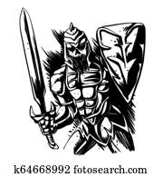 Skeleton knight illustration black and white